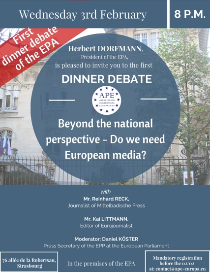 Wednesday, 3 February 2016 - Dinner Debate: Beyond national perspective - Do we need European media?